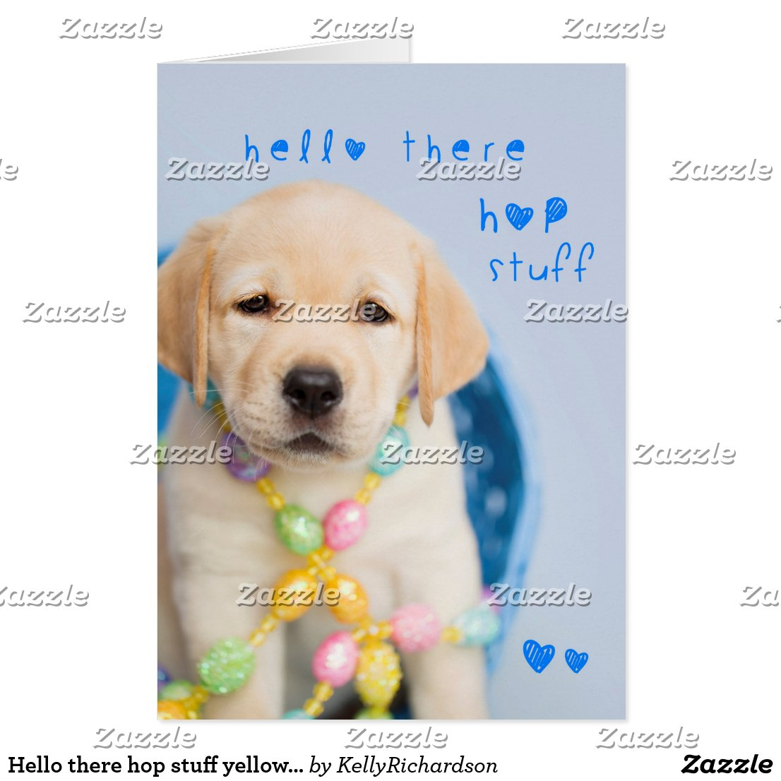 Hello there hop stuff yellow lab puppy card