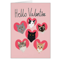Hello Valentine Cats Heart card - cute cats card