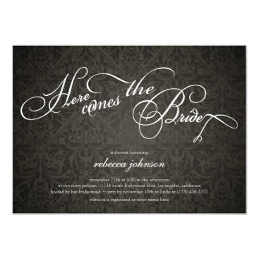 Here comes the bride Elegant Damask Bridal Shower Invitation