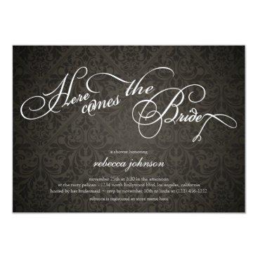 Here comes the bride Elegant Damask Bridal Shower Invitation