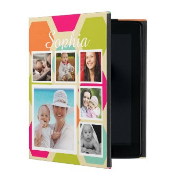Hexagon Pattern Personalized Photo Collage iPad Cover