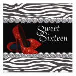 High Heel Shoe Red Zebra Sweet 16 Party Invitation