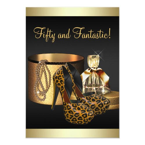 High Heel Shoes Leopard Gold Womans Birthday Card