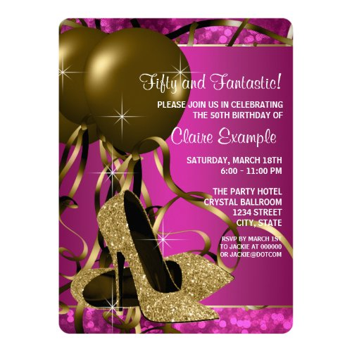 High Heels Womans Hot Pink and Gold Birthday Party Card