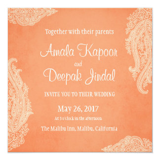 Indian Or Hindu Wedding Card Invitation In Fuchsia Pink Orange And Gold Damask