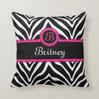 Hip Zebra Print and Lace Monogram Throw Pillow