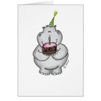 Hippo Birthday - Happy Birthday Card