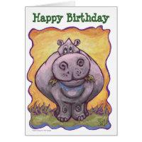 Hippopotamus Party Center Card
