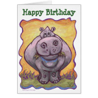 Hippopotamus Party Center Card