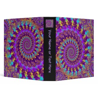 Hippy Fractal Pattern Purple Turquoise & Yellow binder
