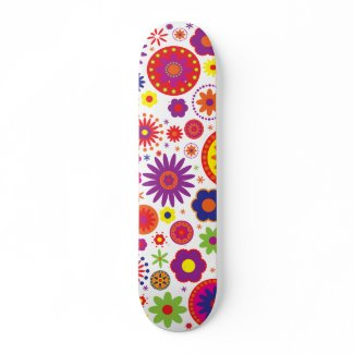 Hippy Rainbow Flowers skateboard