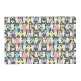 Hipster Cute Cats Pattern Laminated Place Mat
