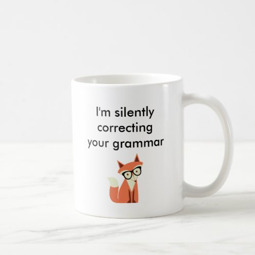 Hipster Fox Grammar Coffee Mug