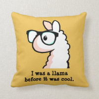 Hipster Llama Throw Pillow