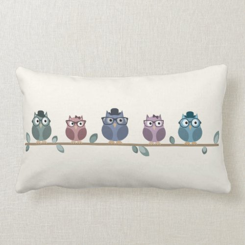 Hipster Owls Throw Pillow