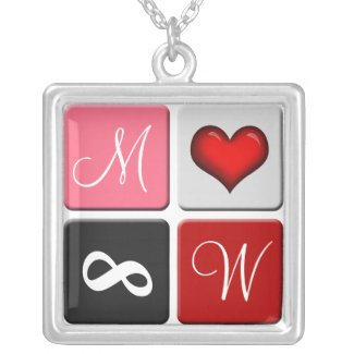 His & Hers Initials ~ Red Forever Love Necklace