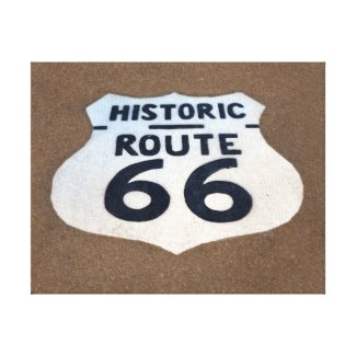 Historic Route 66 Pavement Sign Canvas Print