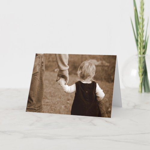 Holding Daddy's Hand Happy Birthday Card card