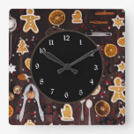 Holiday Baking Square Wall Clock