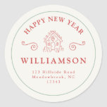 Holiday Christmas Red Gingerbread Return Address Classic Round Sticker