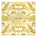Holiday Gold Damask Gold Foil Ribbon Invitation