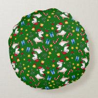 Holiday Llama Madness Round Pillow