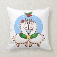 Holiday Love Llamas Throw Pillow