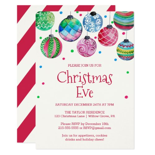 Holiday Ornament Christmas Eve Party Invitation