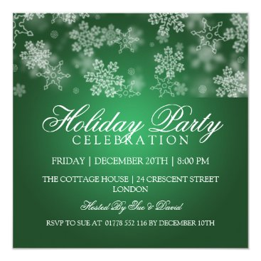 Holiday Party Snowflakes Green Card