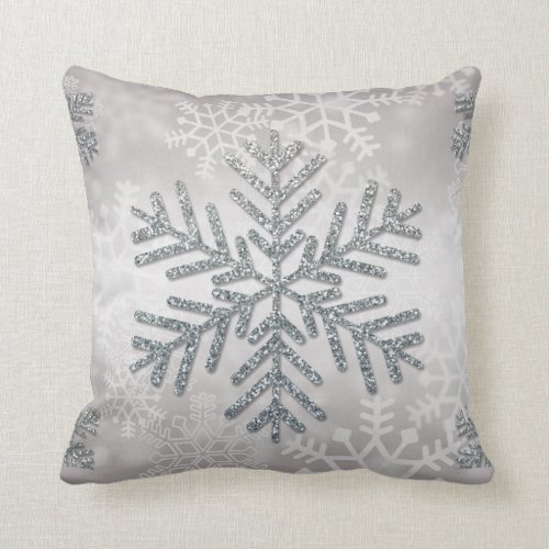 Holiday Snowflake with Silver Glitter Throw Pillow