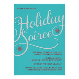 Holiday Soiree Sparkle Christmas Party Invitation