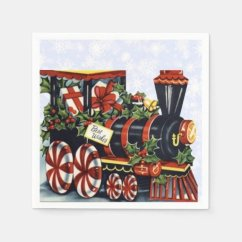 Home Styles Kitchen Cart Eat In Sets Holiday Train Paper Napkin | Zazzle