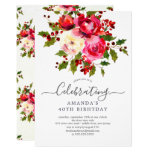 Holly Floral Birthday Party Invitation