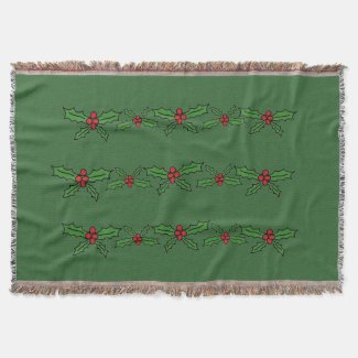 Holly holiday throw