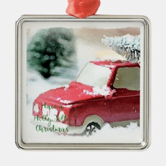 Holly Jolly Christmas Truck Christmas Ornament