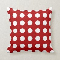 Holly Red Polka Dot Pattern Pillow | Zazzle