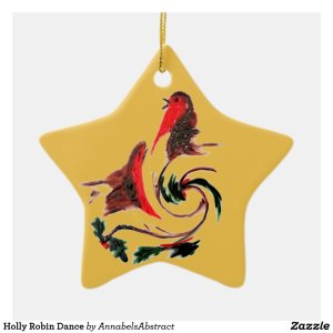 Holly Robin Dance Ceramic Ornament