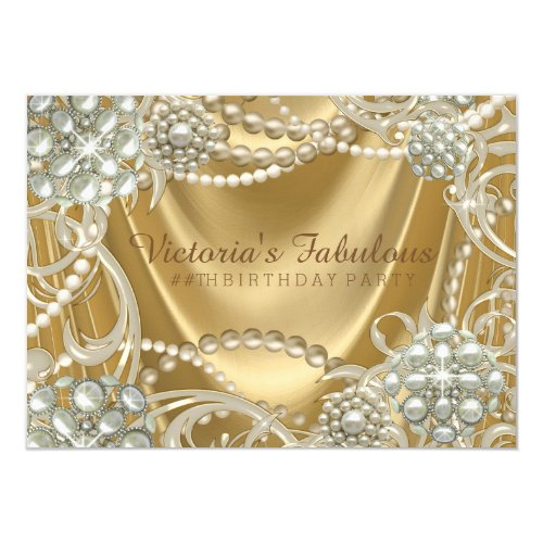 Hollywood Glam Pearl Birthday Party Card