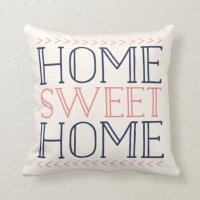 Home Sweet Home | Coral and Navy Modern Typography Throw ...