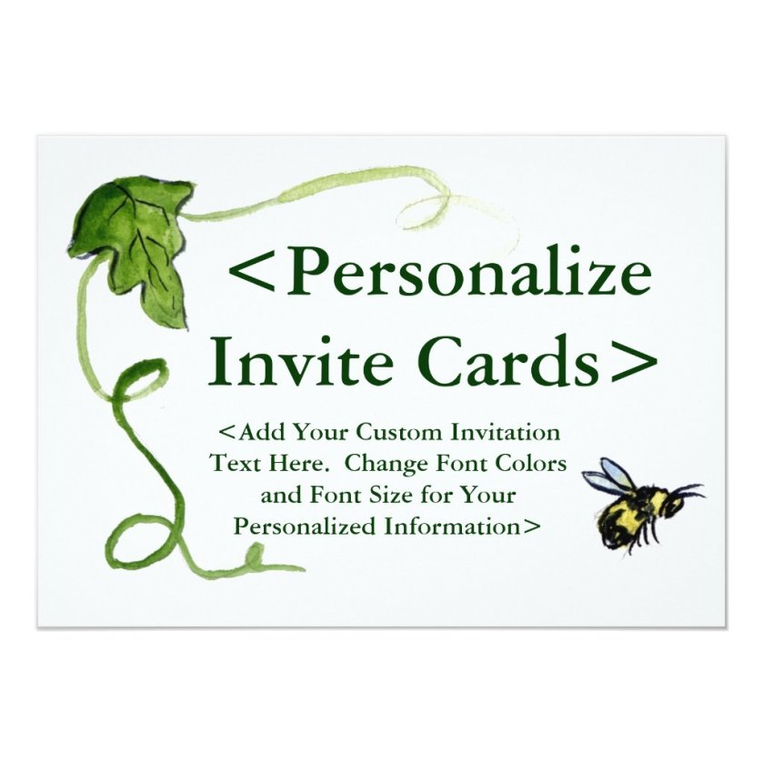 Honey Bee Art Custom Party Invitations
