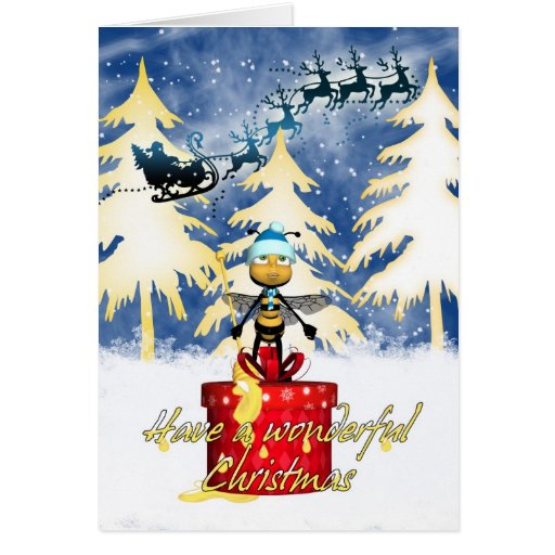 Honey Bee Christmas Card Honey Bee And And Santa Zazzle