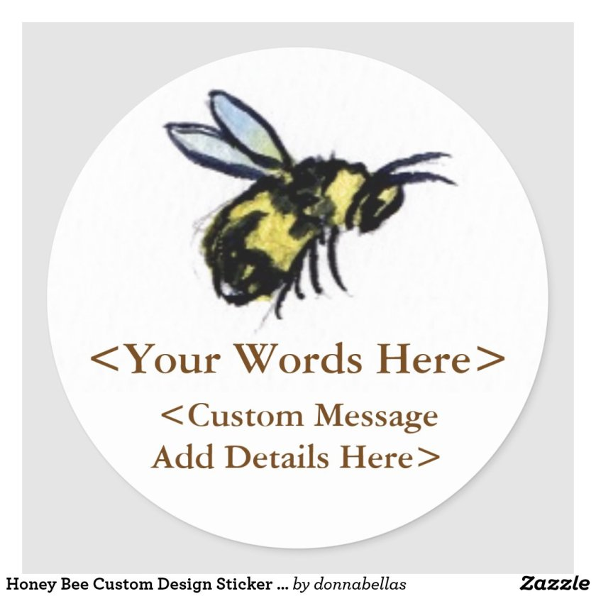 Honey Bee Custom Design Sticker Labels or Decals
