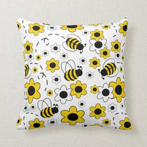 Honey Bumble Bee Bumblebee White Yellow Floral Throw Pillow