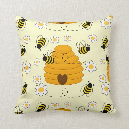 Honey Bumble Bee Hive Sunny Yellow Floral Throw Pillow