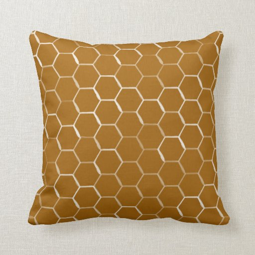Honeycomb Hive Hexagon Pattern in Caramel Throw Pillow