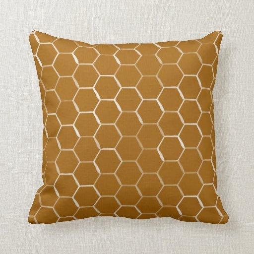Honeycomb Hive Hexagon Pattern in Caramel Throw Pillow