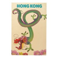 Hong Kong Vintage style travel poster Wood Wall Decor