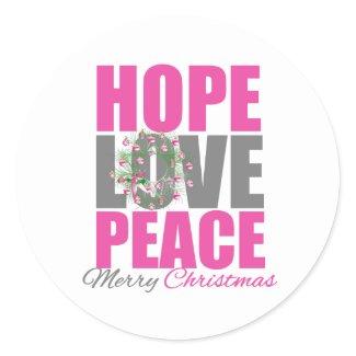 Hope Love Peace Merry Christmas Wreath sticker