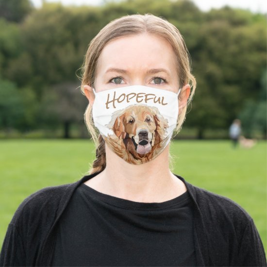 Hopeful Painting Gentle Golden Retriever BrownText Cloth Face Mask