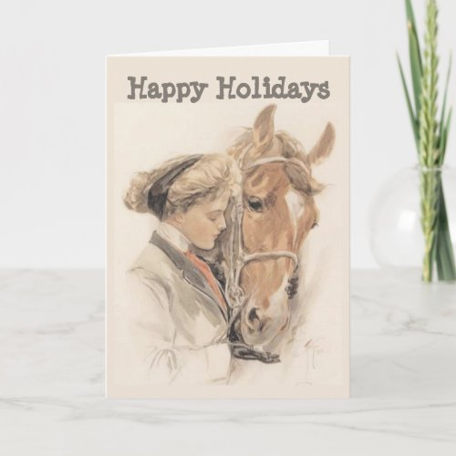 Horse and Lady Vintage Christmas Card